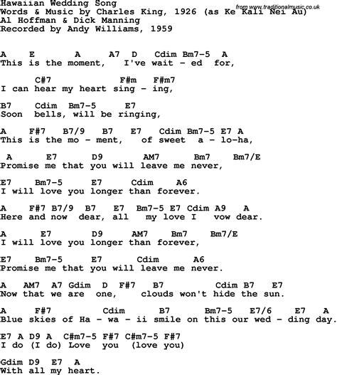 Song lyrics with guitar chords for Hawaiian Wedding Song ...