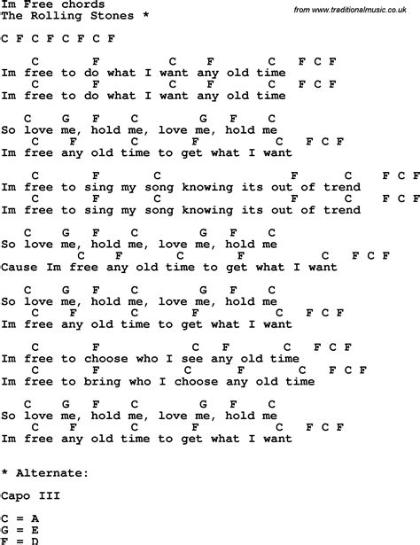 Song lyrics with guitar chords for I'm Free