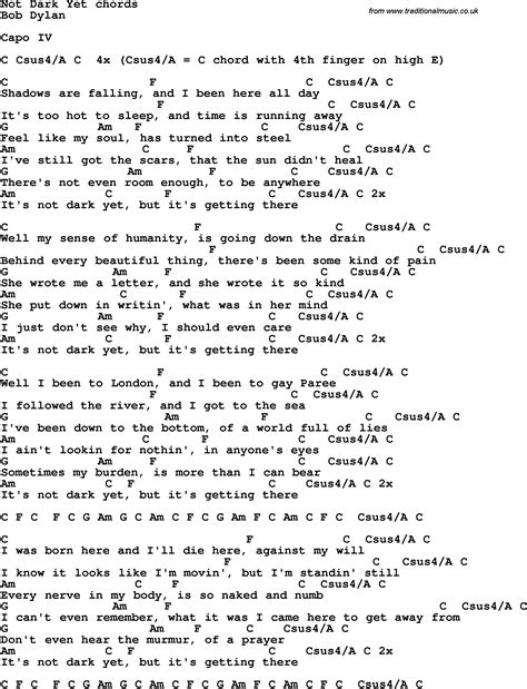 Song lyrics with guitar chords for Not Dark Yet