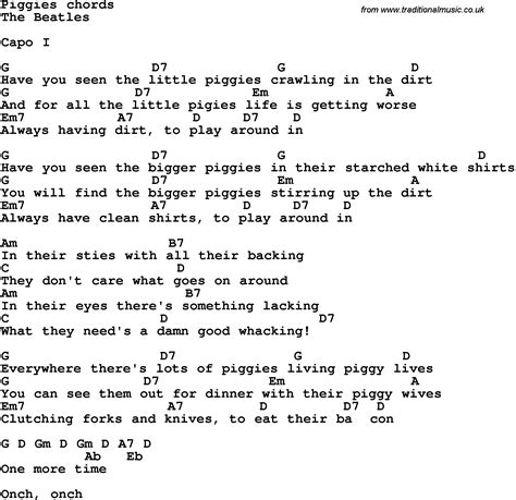 Song Lyrics with guitar chords for Piggies - The Beatles ...