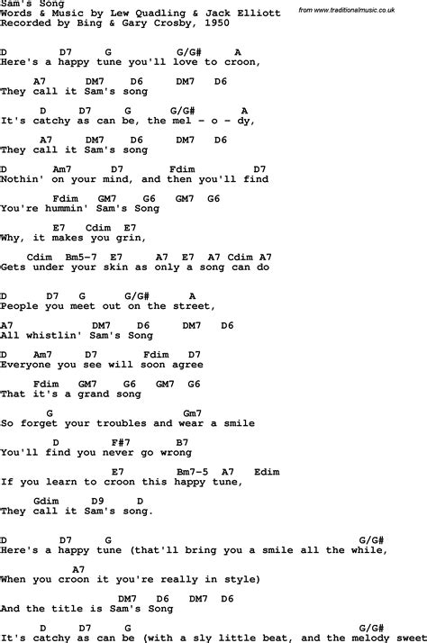 Song lyrics with guitar chords for Sam's Song - Bing ...
