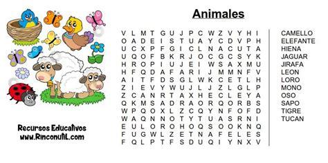 Sopa de letras de Animales para niños