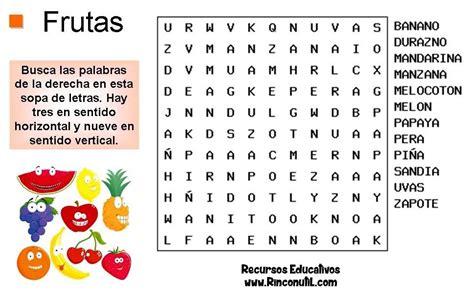 Sopa de Letras para niños de Frutas