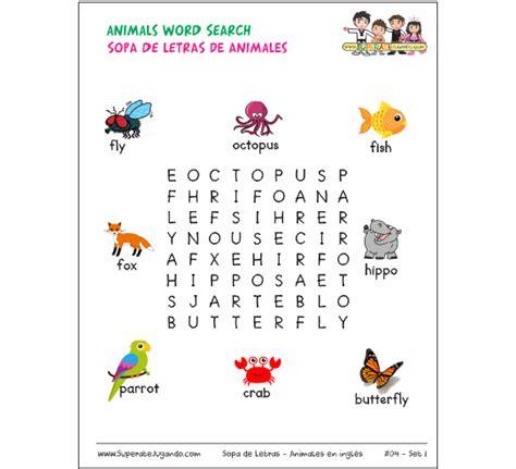Sopa de Letras: Sopa de Letras   Animales en Inglés para ...