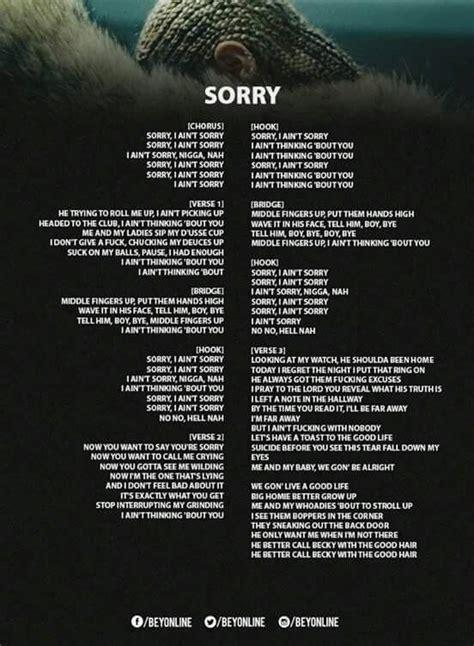 Sorry Lyrics | Lemonade Lyrics Beyonce | Pinterest ...