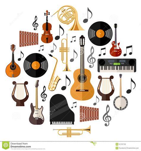 Sortierte Musikinstrumente vektor abbildung. Illustration ...