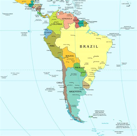 South America large political map. Large political map of ...