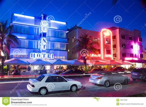 South Beach Miami Hotels Neon Lights Editorial Photo ...
