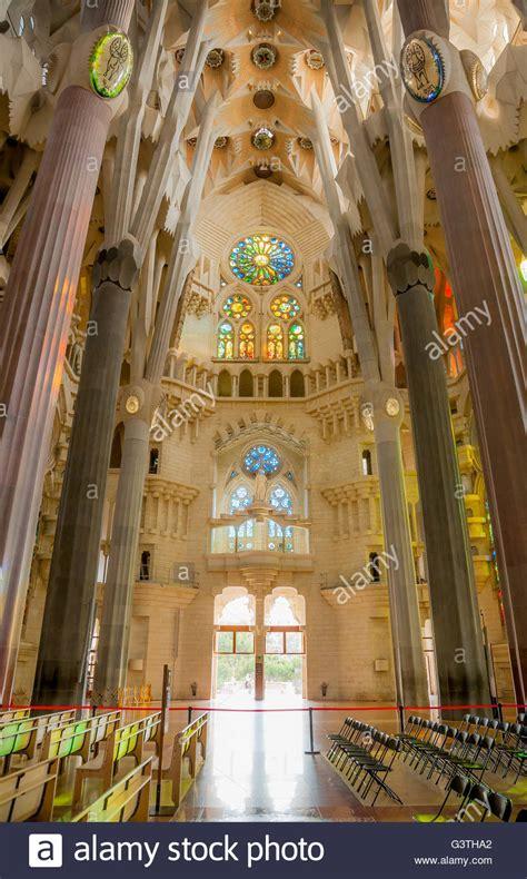 Spain, Barcelona, La sagrada familia, Interior of ...