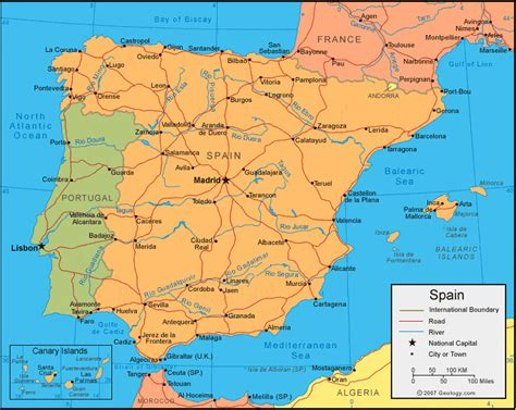 Spain Map and Satellite Image