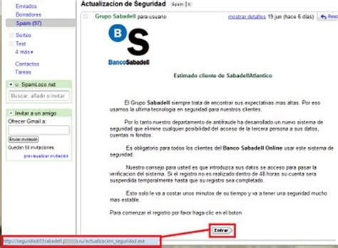Spam y phishing del Banco Sabadell