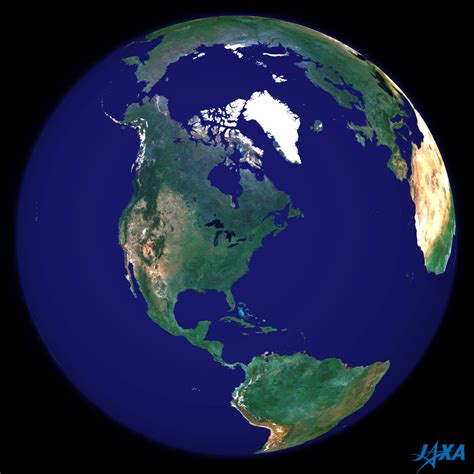 Spherical image of the earth centered in North America ...
