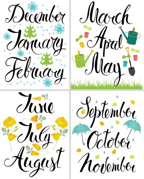 Spring, Autumn, Winter, Summer. Month of the year ...