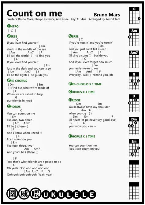 圍威喂 ukulele: Bruno Mars Count On Me [ukulele chord ...