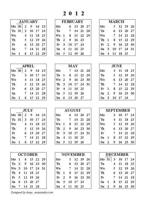 تقويم 2012 تقويم سنة 2012 تقويم عام 2012 التقويم الجديد ...