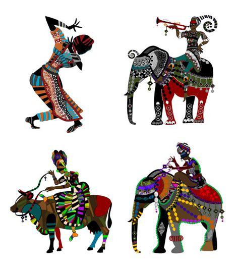 少数民族风情装饰画矢量图-矢量人物与卡通-矢量素材-素彩网