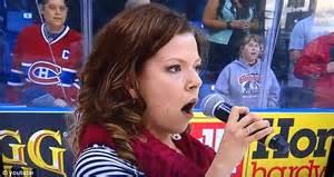Star mangled banner: Moment singer at hockey game forgot ...
