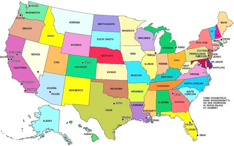 States Capitals And Abbreviations Map united states and ...