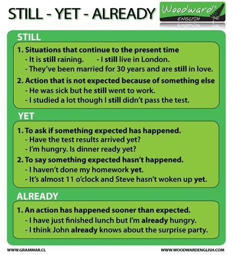 Still Yet Already English Grammar Rules
