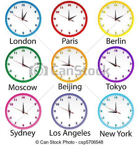 Stock de Ilustraciones de horas, mundo, clocks, coloreado ...