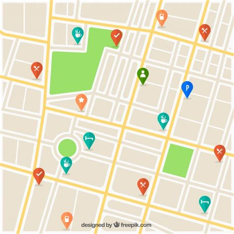 Street map with pins design Vector | Free Download