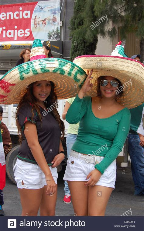 Street shot Mexico two young Mexican women in large ...