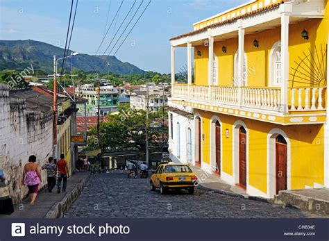 Street with colonial building in the city of Honda ...
