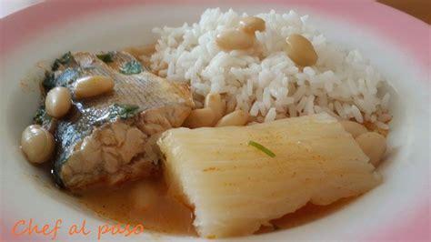 sudado de cachema con arroz blanco.Chef al Paso