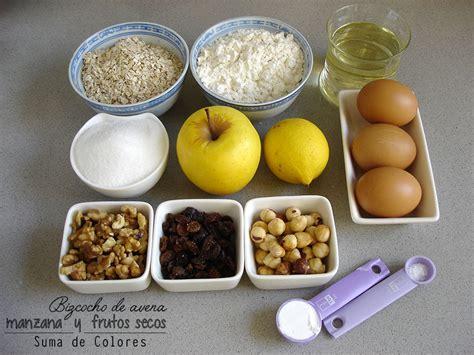 Suma de Colores: Bizcocho de avena, manzana y frutos secos