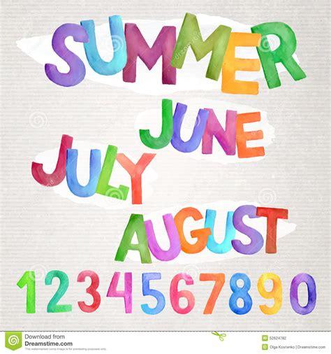Summer Season Watercolor Names Stock Vector   Image: 52624782