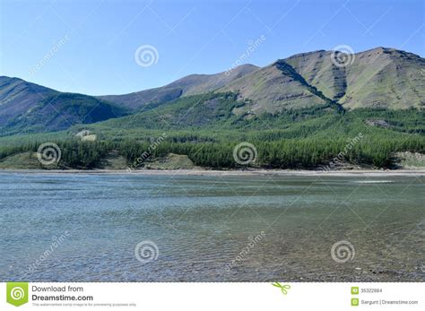 Sunny Landscape Of The River In Mountains. Stock Images ...