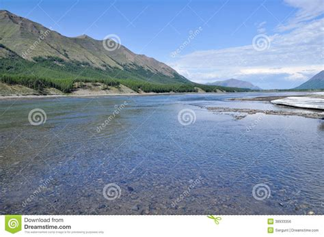 Sunny Landscape Of The River In Mountains. Stock Photo ...