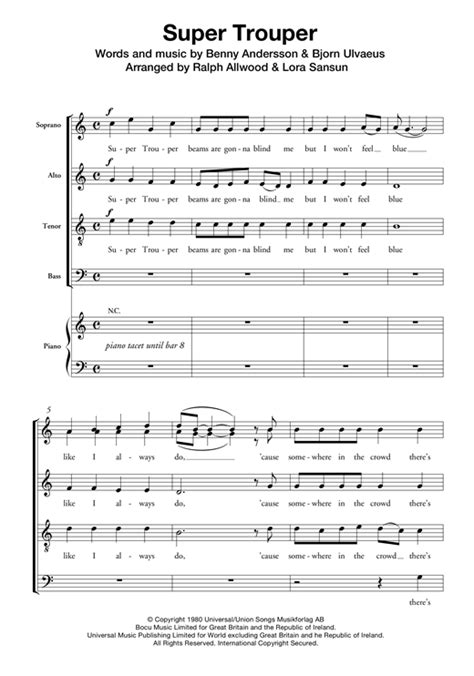 Super Trouper Chormusik SATB digitale noten von von ABBA ...