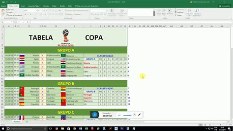 Tabela da Copa 2018 Completa Excel - YouTube