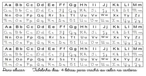 Tabela do Alfabeto com 4 tipos de letras   Para imprimir ...