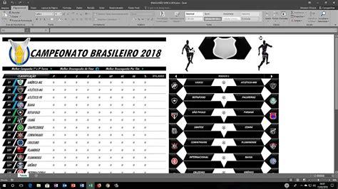 Tabela do Campeonato Brasileiro 2018 Excel - YouTube