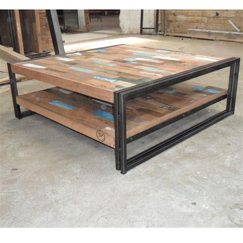 Table basse bois fer table haute | Maisonjoffrois