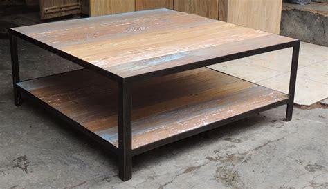 Table basse fer bois table salon en bois | Maisonjoffrois
