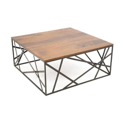 Table basse fer et bois petite table en verre | Trendsetter