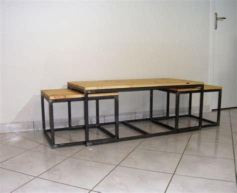 Table basse gigogne bois et fer - Le bois chez vous