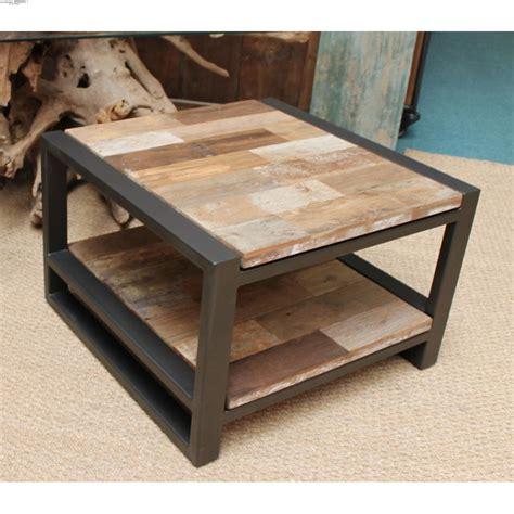 Table de salon bois et fer table basse rehaussable ...