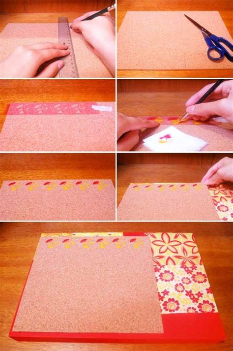 Tablero de corcho decorado con papeles   Manualidades