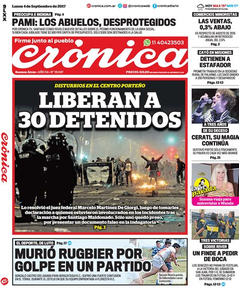 Tapas del lunes 4 de septiembre de 2017 | Crónica | Firme ...