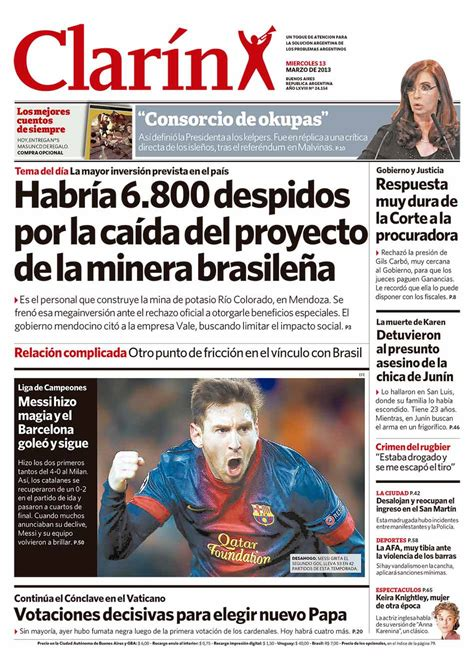 Tapas des diarios de los dias importantes de la Argentina ...