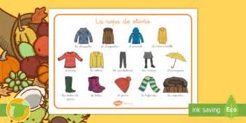 Tapiz de vocabulario: La ropa de otoño   palabras, estaciones
