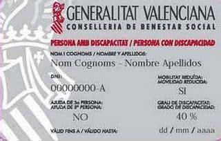 Tarjeta de discapacidad Comunidad Valenciana-España