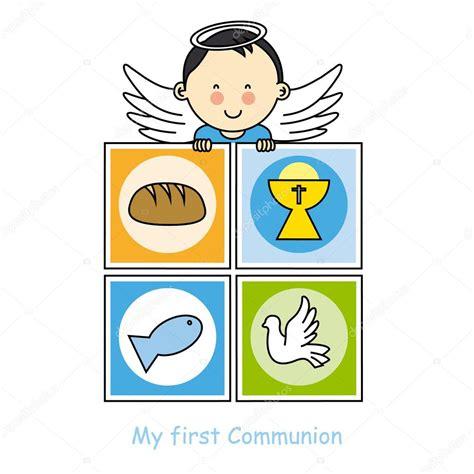 Tarjeta de primera comunión niño — Vector de stock © sbego ...
