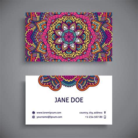 Tarjeta de visita decorada con mandalas a todo color ...
