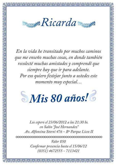 Tarjetas de invitación de 80 años - Imagui | tarjeta mami ...