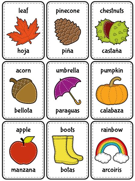 Tarjetas educativas: otoño en español e inglés ...